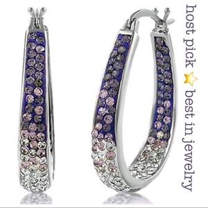 NEW SWAROVSKI CRYSTAL INSIDE OUT PURPLE HOOPS